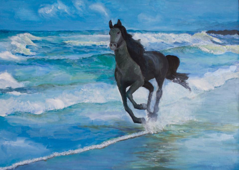 было лошадь бегущая по волнам картинка падение